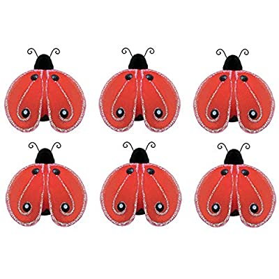 Ladybug Decorations Red Black Mini Shimmer Nylon Little Ladybugs Decor Baby Nursery Bedroom Girl Room Wall Birthday Party Shower Artificial Craft Wire DIY Butterfly Life (X-Small 2