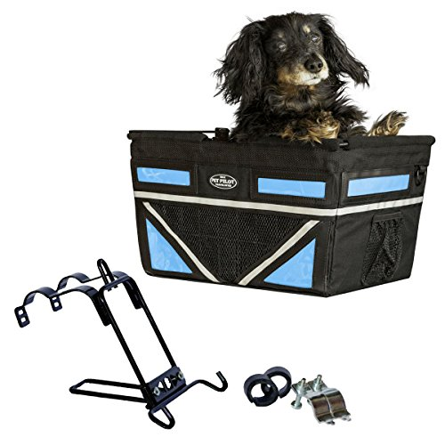 Travelin K9 Pet-Pilot MAX Dog Bicycle Basket Carrier | 9 Color Options for Your Bike (Neon Blue)