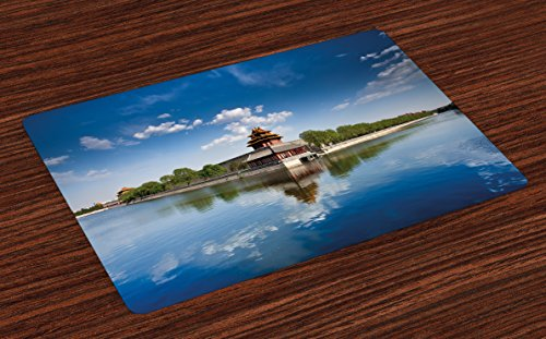 ina Place Mats Set of 4, Historical Architecture Imperial Palace with Trees Sea and Blue Sky, Washable Fabric Placemats for Dining Room Kitchen Table Decoration, Blue Green Brown (Imperial Blue Table Mat)