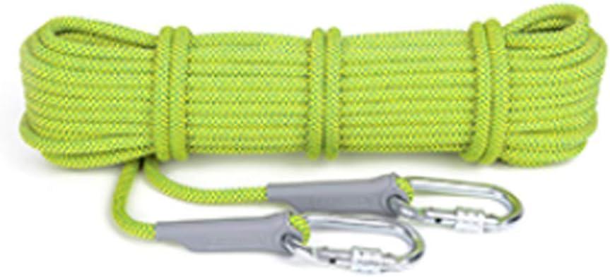 クライミングロープ、直径12mm屋外用登山用高強度救命スタティックロープ、50Mロング多目的汎用ロープ(色:蛍光グリーン、サイズ:50m) Fluorescent 緑 50m