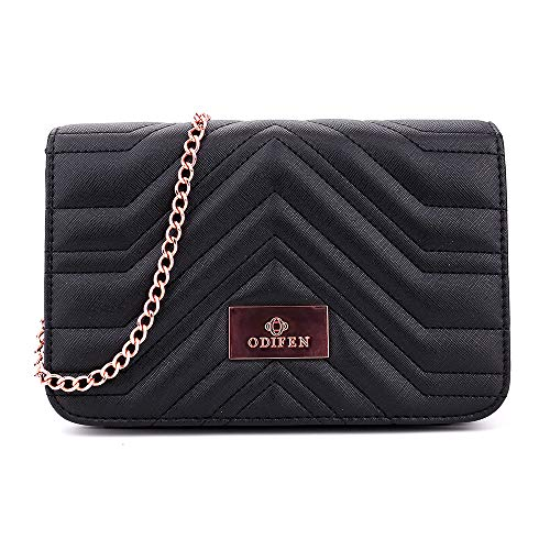 Medium Size Solid Modern Classic Clutch Crossbody Bag with Gold Plate and Chain Strap for Women, Shoulder Bag Crossbody Purse Bags Soft PU Leather (Black)