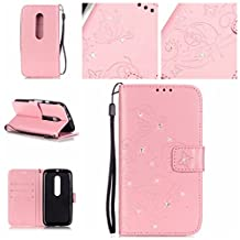 Moto G 3rd Gen Case,LYO [Card Slot] Embossing Butterfly Inlaid Shiny Diamond Premium PU Leather Wallet Clamshell Fashion Case Cover for Motorola Moto G G3 (3rd Gen, 2015) with Hand Strap [Pink]