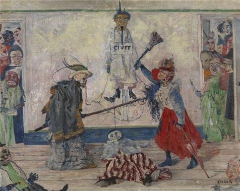 Perfect Effect Canvas ,the Best Price Art Decorative Prints On Canvas Of Oil Painting 'James Ensor - Skeletons Fighting For The Body Of A Hanged Man,1891', 16x20 Inch / 41x51 Cm Is Best For Game Room Decor And Home Decor And Gifts