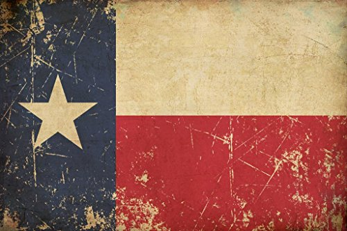 (Flag of Texas Old Scratched Aged Vintage Art Print Poster 24x36 inch)