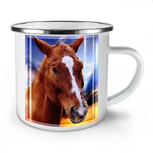 Face Wild Animal Horse Enamel Mug, Blue Cup - Strong, Easy-Grip Handle, Two Side Print, Ideal for Camping & Outdoors By Wellcoda ()