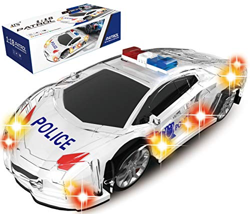 "Haktoys ATS [Upgraded] Battery Operated Bump & Go Action 8"" Police Car Justice Enforcement Team 