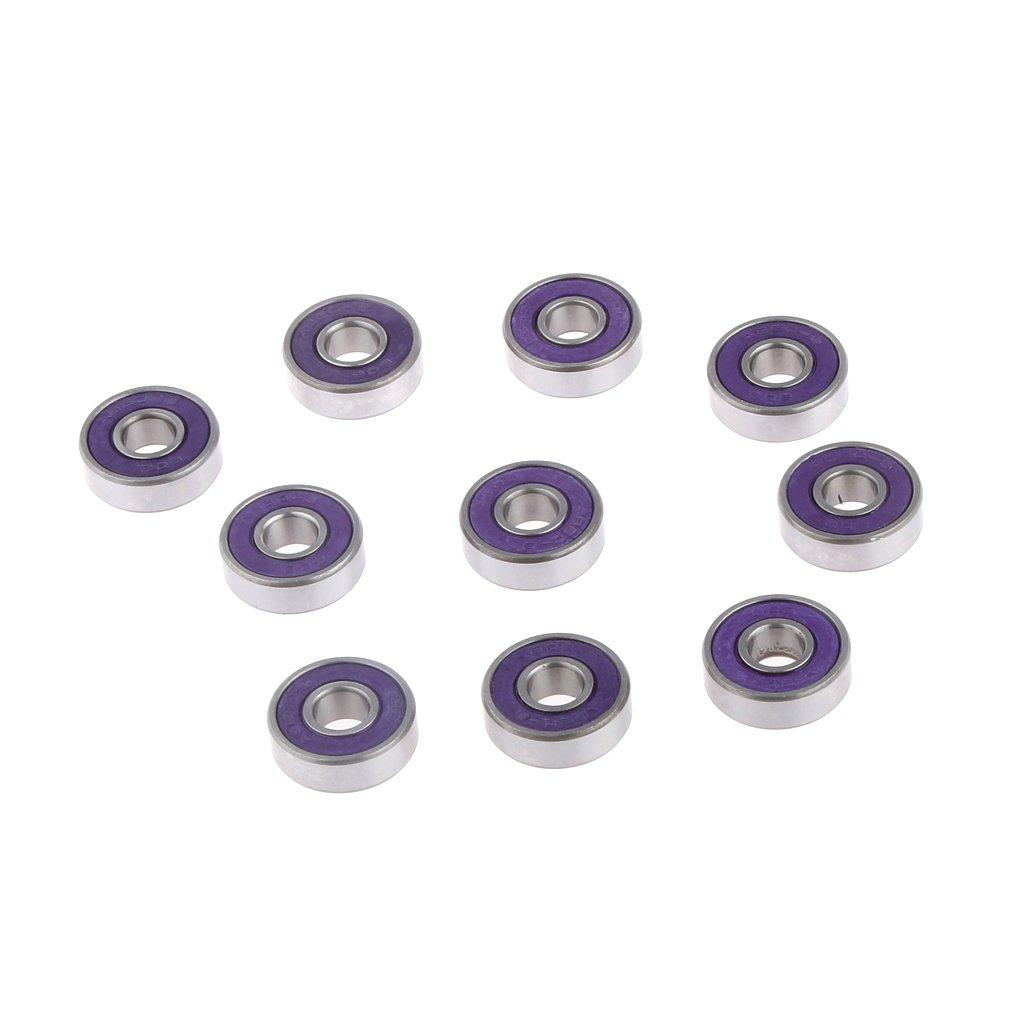 1 Set Of Steel Skateboard Longboard Bearings ABEC 9 Speed Purple 10pcs Purple Generic