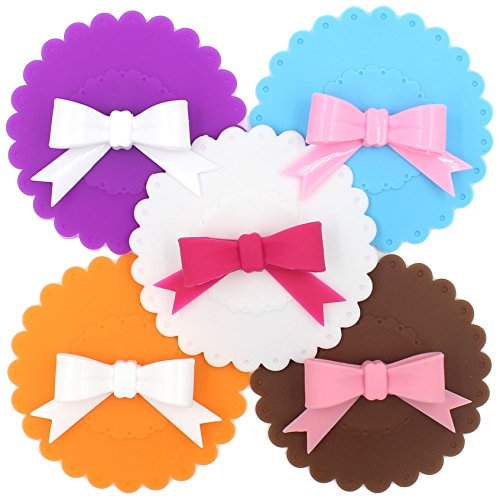 Zicome Silicone Bow Tie Shape Suction Cup and Mug Lids Cover, Fit for Cup Size within 4.1 inch/10.5cm