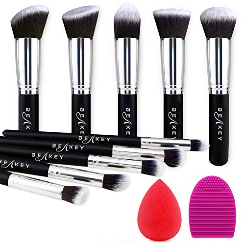 BEAKEY Makeup Brush Set, Premium Synthetic Kabuki Foundation Face Powder Blush Eyeshadow Brushes Makeup Brush Kit with Blender Sponge and Brush Cleaner (Black/Silver)