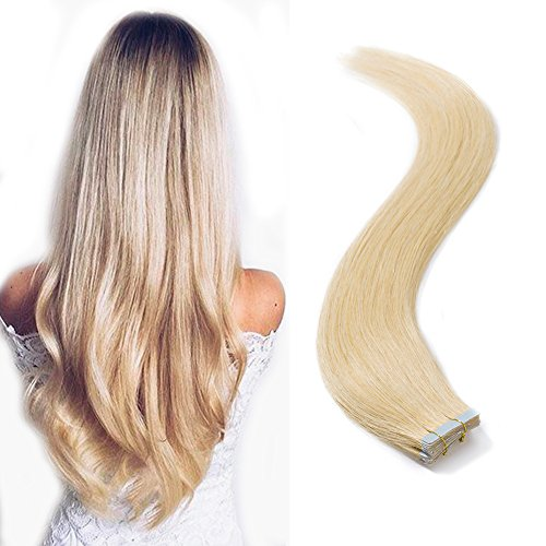 Tape in Hair Extensions 100g 40 Pieces 12''-24'' Double Side Tape Seamless Skin Weft Rooted Tape on Human Hair Extensions 40pcs Long Straight Silky (18 inch 100g,#24 Natural Blonde) ()