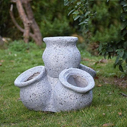 庭の装飾品レトロな植木鉢庭の風景芝生の装飾工芸品のギフト用の防水樹脂庭の像-40 * 34 * 35cmグレー-40 * 34 * 35cm