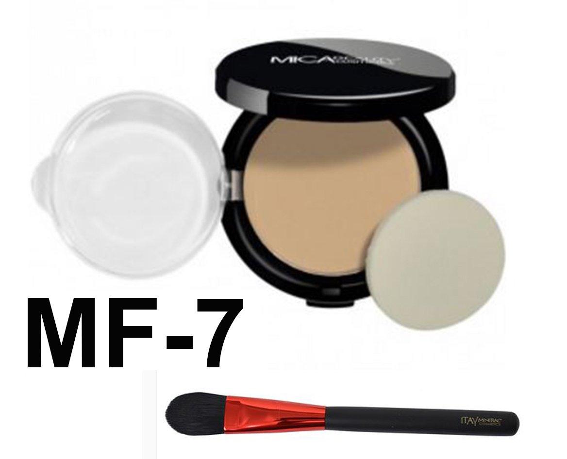 Bundle 2 Items: Mica Beauty Pressed Mineral Foundation + Itay Mineral Premium Foundation Brush (MF-7 Lady Godiva)