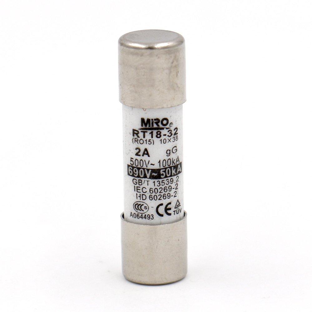 Baomain Ceramic Tube Cylindrical Fuse Link RT14 RT18 R015 10mm x 38mm AC 500V 2A 20 pack Baomain Electric Co. Ltd