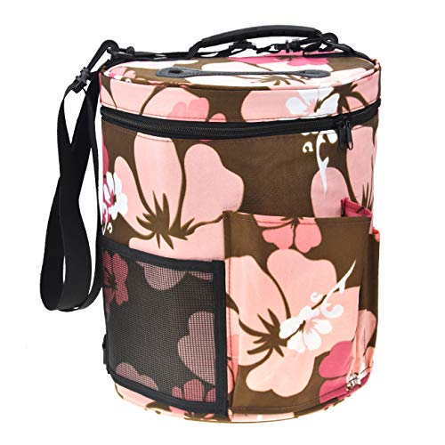 Large Capacity/Portable/Lightweight Yarn Storage Knitting Tote Organizer Bag with Shoulder Strap Handles Looen W/Pockets for Crochet Hooks & Knitting Needles ... (Floral)