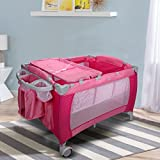 New Foldable Baby Crib Playpen Travel Infant Bassinet Bed Mosquito Net Music w Bag