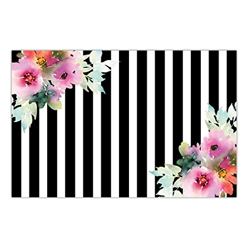 DB Party Studio Paper Placemats Pack of 25 Elegant Floral on Stripe Disposable Place Mats Birthday Bridal Shower Wedding Reception Event Retirement Grad Parties Dining Table Setting Decor 17