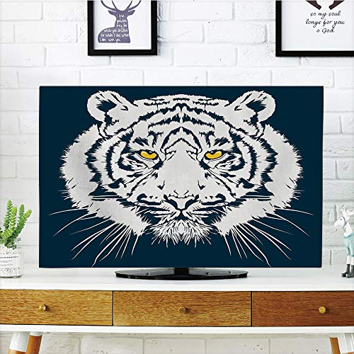 iPrint LCD TV dust Cover Customizable,Tiger,Aggressive Depiction of a Giant Furry Feline Majestic Animal Mascot of Asia,Petrol Blue White,Graph Customization Design Compatible 50