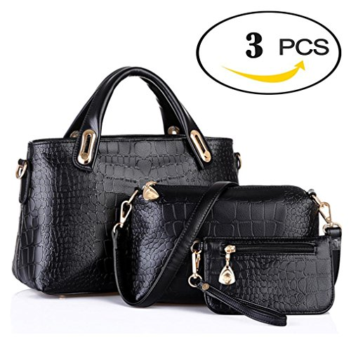 Handbags for Women Clearance, Nikkelong 2018 Women Handbag Shoulder Bags Tote Purse Leather Ladies Messenger Hobo Bag, 3pcs Purse Set (Black)