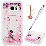 For Samsung Galaxy S7 Edge Case,Badalink Sparkly Bling Samsung S7 Edge Case Dynamic Flowing 3D Glitter Fantasy Shiny TPU Silicone Bumper Shock Absorption Anti-Scratch Grip Flexible Skin Cover for Samsung Galaxy S7 Edge with 1 Dust Plug & 1 Touch Pen,Butterfly Fairy