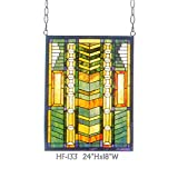 HF-133 Rural Vintage Tiffany Style Stained Church Art Glass Decorative Green Stripes Rectangle Window Hanging Glass Panel Suncatcher, 24''H18''W