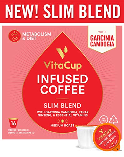 VitaCup Slim Blend Diet|Metabolism Coffee Pods 16ct with Garcinia Cambogia, Panax Ginseng, Paleo|Vegan Friendly, B12, B9, B6, B5, B1, Compatible with K-Cup Brewers Including Keurig 2.0
