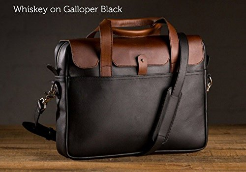 The Luxury Briefcase - Whiskey on Galloper Black by Pad and Quill