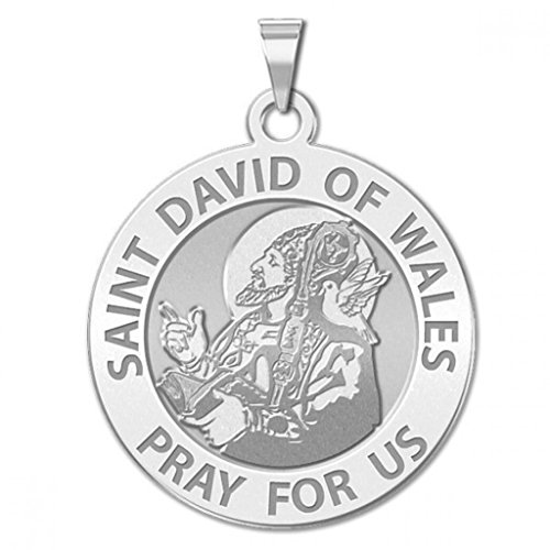 Saint David of Wales Round Religious Medal - 3/4 Inch Size of a Nickel -Sterling ()