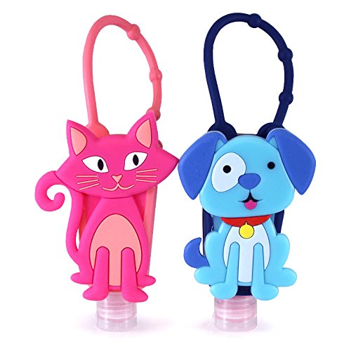 Bac-Pac Buddies Hand Sanitizer Bundle Pack- Travel Size Scented Gel On-the-Go Bottles (2 Pack, Puppy and Cat)