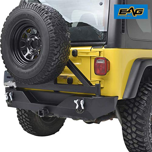 EAG Rear Bumper with Tire Carrier Swing Off Road Fit for 87-06 Jeep Wrangler TJ YJ