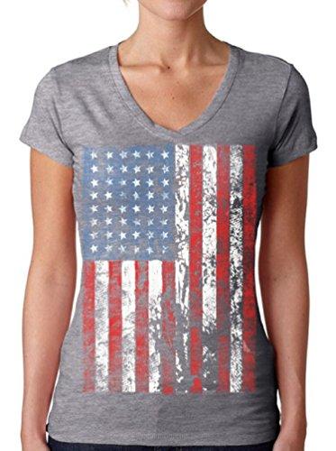 July Womens V-neck T-shirt - Awkwardstyles Women's American Flag Distressed V-Neck Tshirt 4th July + Bookmark L Gray