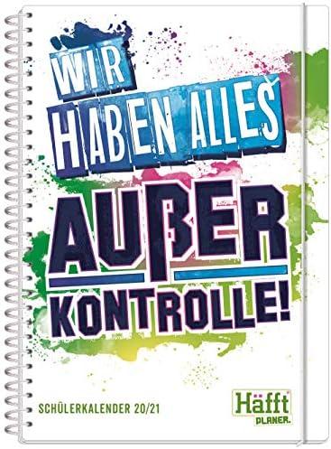 Häfft PLANER Premium A5 2020/2021 [Alles außer Kontrolle] stabil & flexibel - Schülerkalender, Hausaufgabenheft, Schülerplaner mit spannendem Wissen, Stickern und lustigen Sprüchen