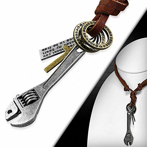 Collier homme en cuir marron avec pendentif croix et clef à molette