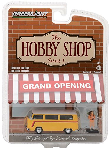 Volkswagen Type 2 Bus - 1975 Volkswagen Type 2 Bus Yellow with Backpacker The Hobby Shop Series 1 1/64 Diecast Model Car by Greenlight 97010 C