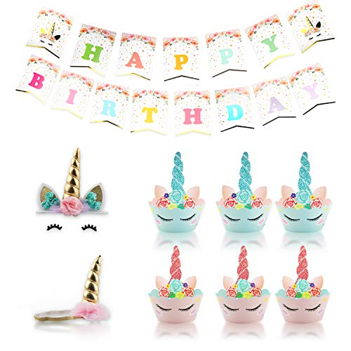 Unicorn Cake Topper - 67 PCS Cake Supplies Decorations Including 24 Cake Cups and 24 Unicorn Wrappers, Eyelashes, Cake Toppers, Unicorn Hairband, Birthday Banner For Birthday Party Baby Shower (1)