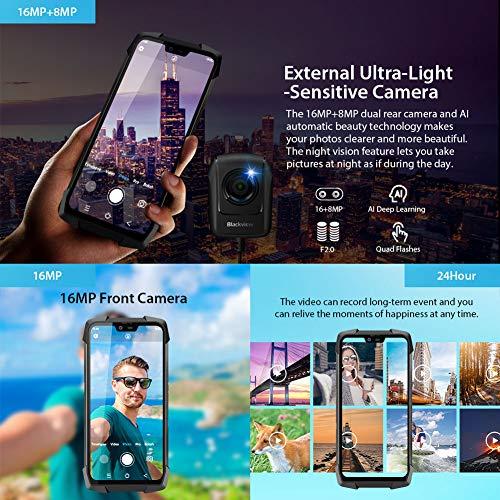 """Telephone Incassable, Blackview® BV9700 Pro Smartphone Débloqué 4G (5.84"""", 6Go+128Go, 16/8MP+16MP, Android 9.0, Helio P70) Telephone Portable Incassable, Caméra Vision Nocturne/Fréquence Cardiaque 5"""