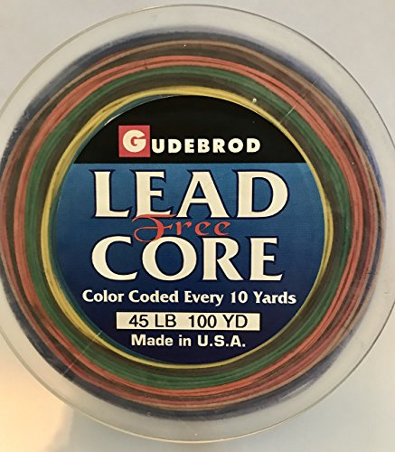 Gudebrod Lead-Free Metal Core Metered Trolling Fishing Line; 100 Yards, 45 lb test, Braided Dacron. Eco-friendly (contains no lead)