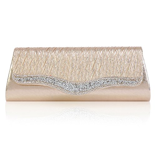 Womens Crystals Prom Crossbody Sparking Bag Flap Gold Light Damara Evening vqBwxdvE