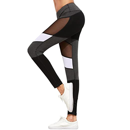 38945ed14b BSGSH Yoga Pants for Women High Waist Patchwork Mesh Gym Workout Fitness  Sports Trouser Leggings (