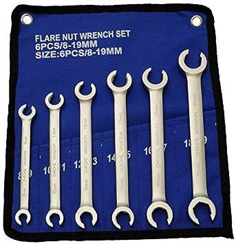 8 à 19mm Jeu de 6 clés à tuyauter pour tuyau de frein Tailles