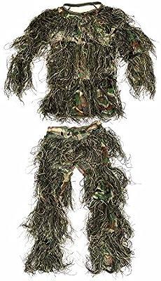 YB niños tamaño Woodland camuflaje caza ropa estor Ultra ligera Ghillie Suit
