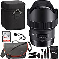 Sigma 14mm f/1.8 ART DG HSM Lens (for Canon EOS Cameras), Sandisk Ultra SDHC 32GB Memory Card, Lowepro Bag and Accessory Bundle
