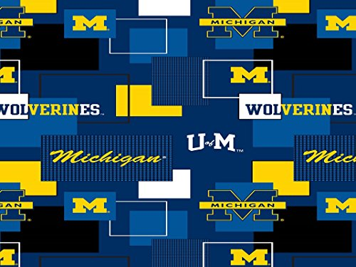 MICHIGAN WOLVERINES COTTON FABRIC BLOCK PRINT-UNIVERSITY OF MICHIGAN BLOCK PRINT COTTON FABRIC-NEWEST ()