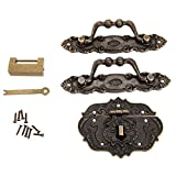 Dophee European Style Classic Furniture Decorative Hardware Latch Hasp Pull Handles Lock Kit