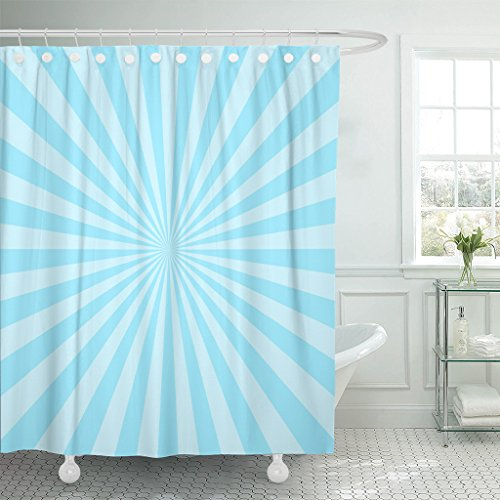 Tompop Shower Curtain Burst Sun Ray Blue Two Tone Colors Abstract Sunburst Beam Waterproof Polyester Fabric 78 X 72 Inches Set With Hooks
