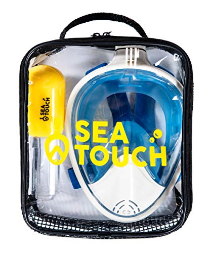 SeaTouch Premium Full Face Snorkeling Mask Blue Small for Women and Youth Easybreath Snorkeling Mask (Blue, X-Large)