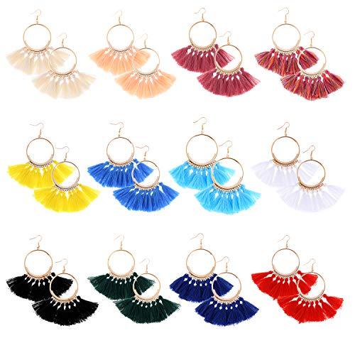 LOCOLO 12 Pairs Tassel Hoop Earrings Bohemia Fan Shape Drop Earrings Dangle Hook Eardrop for Women Girls Party Bohemia Dress - Fan Shape