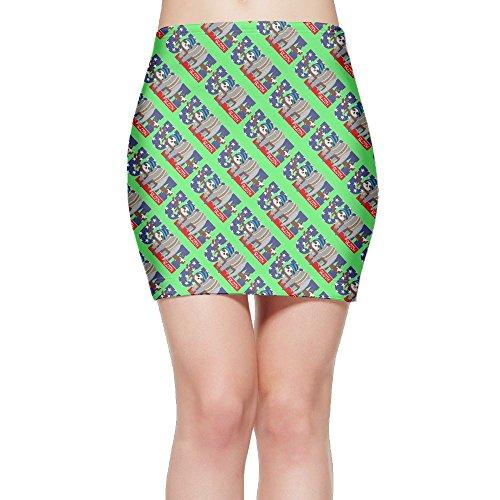 SKIRTS WWE Flower Hat Sloth Womens Slim Fit High Waist Mini Short Skirt by SKIRTS WWE