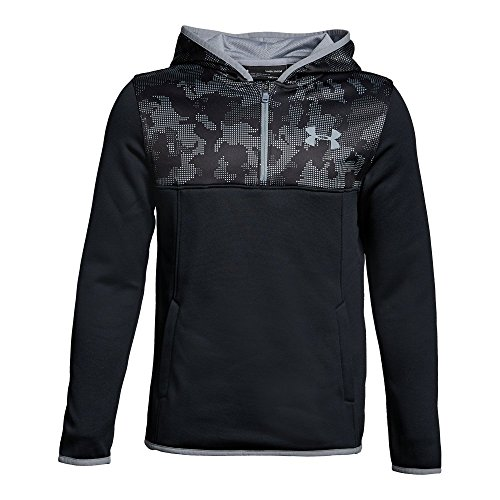Under Armour Boys' Armour Fleece ¼ Zip Hoodie, Black/Black, Youth X-Large