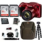 Canon PowerShot SX420 IS Digital Camera (Red) w/ Two SanDisk Ultra 32GB SD Cards & Advanced Accessory Bundle