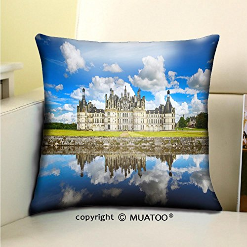 - PleayeL Soft Canvas Throw Pillow Covers Cases for Couch Sofa -Chateau de chambord Royal Medieval French Castle and Reflection Loire Valley France Europe Print 18x 18(45 x 45 cm)
